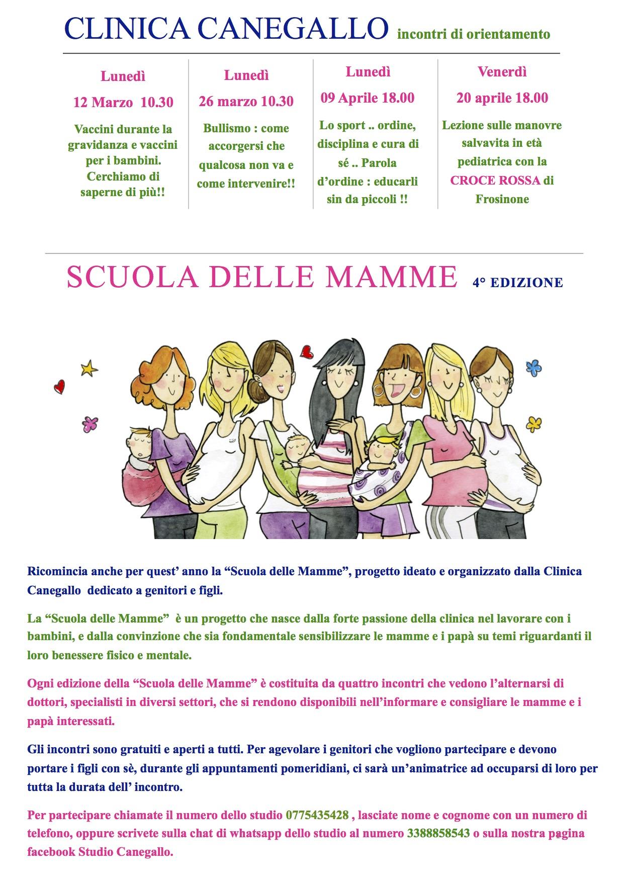 Scuola Delle Mamme Incontri Gratuiti Di Orientamento Sulla Salute Dei Bambini Studio Canegallo